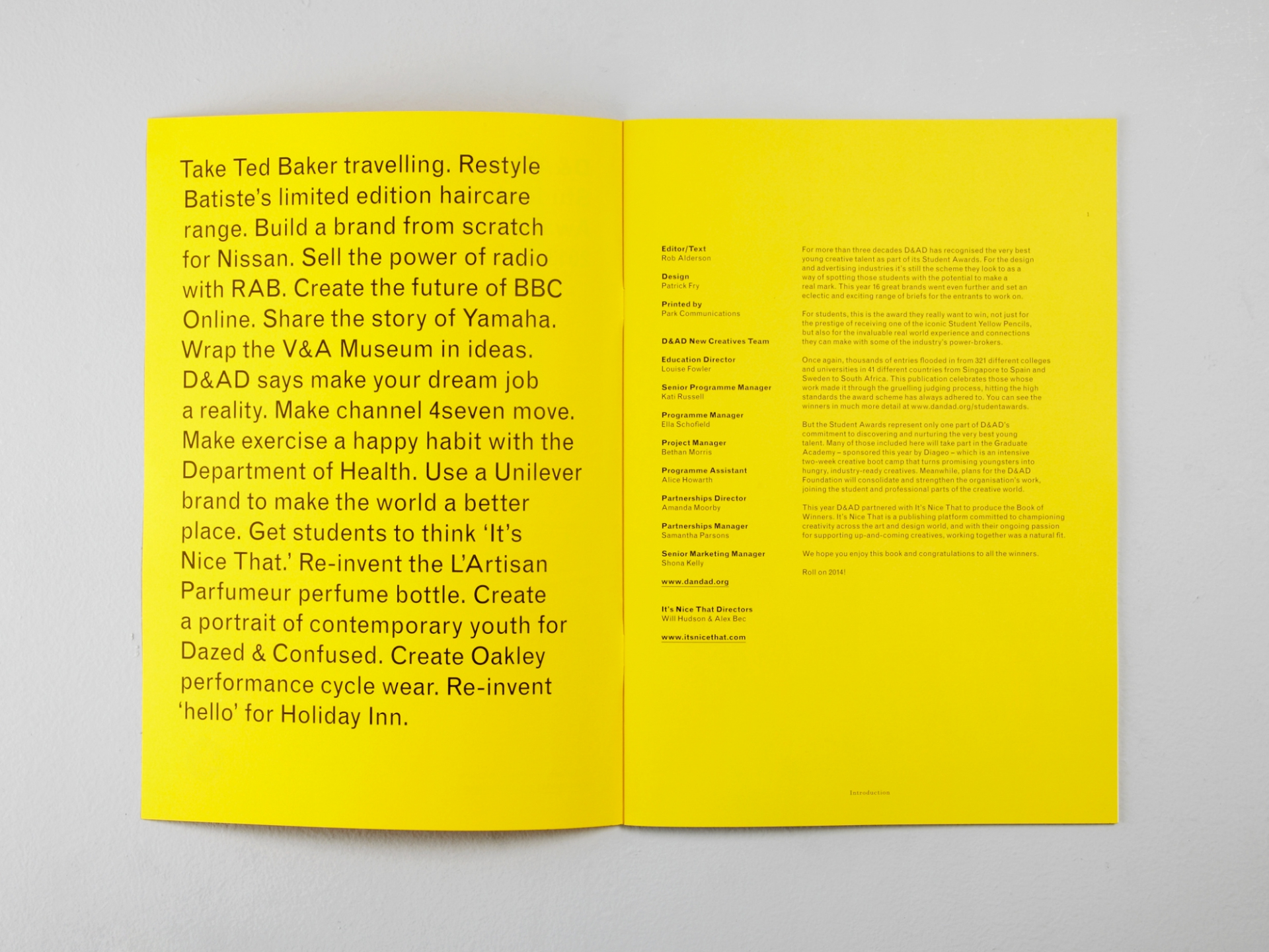Patrick Fry D&AD Student Awards Magazine