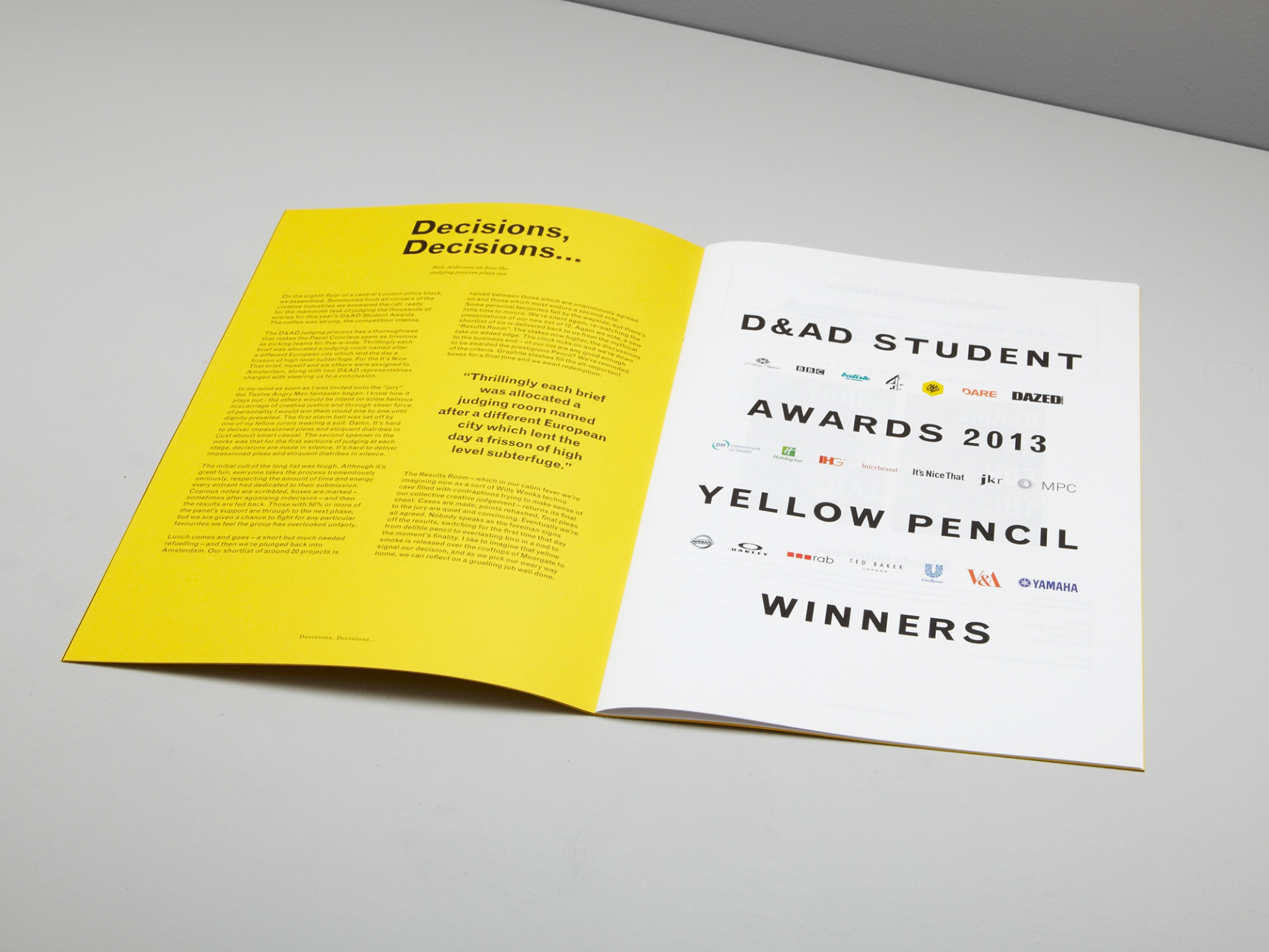 Patrick Fry Studio D&AD Student Awards Magazine